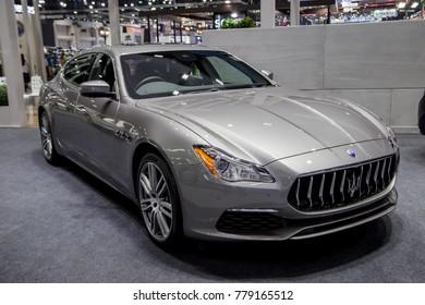 Bangkok, Thailand - December 11, 2017: Maserati Quattroporte Luxury Sedan presented in Motor Expo 2017