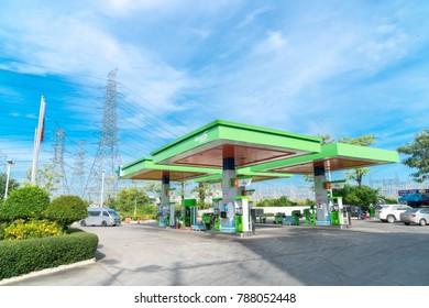 Bangkok, Thailand - December 11, 2017: Bangchak Petroleum Public Company Limited,Logo  Oil Gas Station in Thailand.