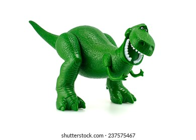 Bangkok, Thailand - December 12, 2014: Rex the green dinosaur toy character from Toy Story animation films by Disney Pixar studio.