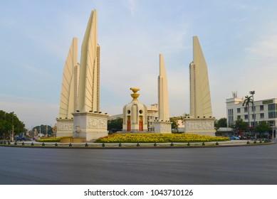 BANGKOK, THAILAND - DECEMBER 12, 2016: Monument of Democracy on Thanon Rachadamnoen Boulevard on a cloudy evening