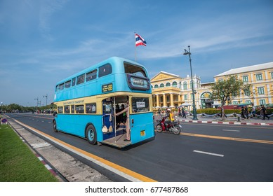 Bangkok, Thailand. December 12,2016 : The travel vintage bus  for free at Royal grand palace and Temple of the Emerald Buddha in funeral of His Majesty King Bhumibol in Bangkok.