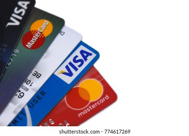 Bangkok, Thailand - December 13, 2017 : Close up group of VISA and  Mastercard credit card on isolated white background