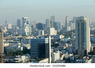 BANGKOK, THAILAND - December 14, 2014: Panorama of Bangkok city, the top view at dawn.