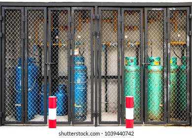 Bangkok, Thailand - December 14, 2017 : LPG gas tank supply system for cooking in the gas storage location for safety and orderly of the place.