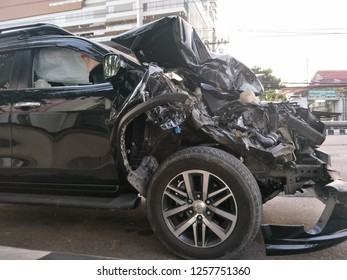 Bangkok Thailand, December 14, 2018 : Car wrecked has been parked beside the street, in concept of car accident, safety, transport, insurance.