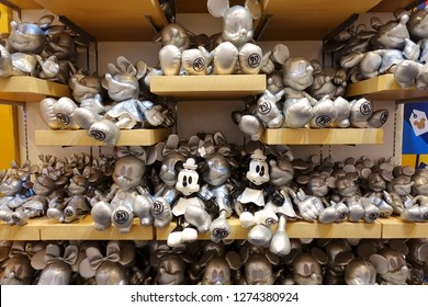 Bangkok. Thailand -December 14, 2018 : Disney and King power celebrate of Mickey Mouse's birthday, 90th Anniversary. In the event, there are souvenirs such as Mickey mouse and Minnie mouse dolls sold.