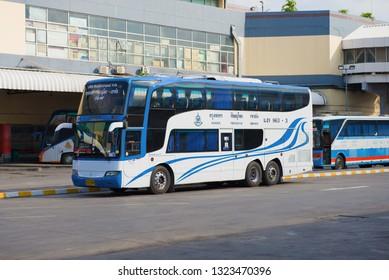 BANGKOK, THAILAND - DECEMBER 14, 2018: Modern passenger double-decker bus at the Mo Chit bus terminal
