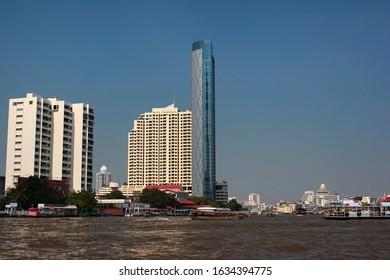 Bangkok, Thailand - December 14, 2019: Banyan Tree Residences Riverside Bangkok and Baan Chaopraya Condo, a luxurious residential skyscrapers in central Bangkok.