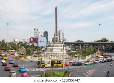 BANGKOK, THAILAND - DECEMBER 15, 2018 : Monument of Victory in bangkok Thailand. This circle of Monument have a lot of traffic jam.