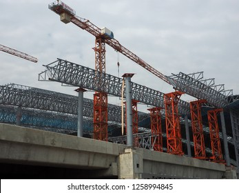 BANGKOK, THAILAND - DECEMBER 15, 2018: Large metallic structure under construction on the site of Bangsue Grand Station on December 15, 2018 in Bangkok, Thailand.