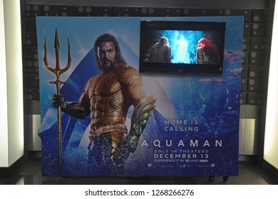 Bangkok, Thailand – December 15, 2018: The Standee of A DC Comic Superhero Movie Aquaman Displays at the Theater