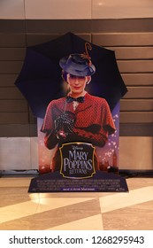 Bangkok, Thailand – December 15, 2018: The Standee of American Musical Fantasy Movie Mary Poppins Returns Displays at the Theater