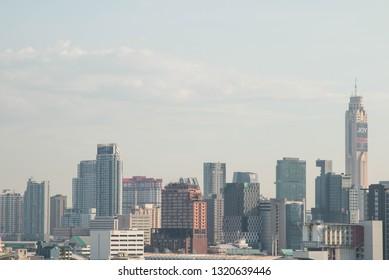BANGKOK, THAILAND - December 15, 2018 : Arial view Bangkok city downtown.