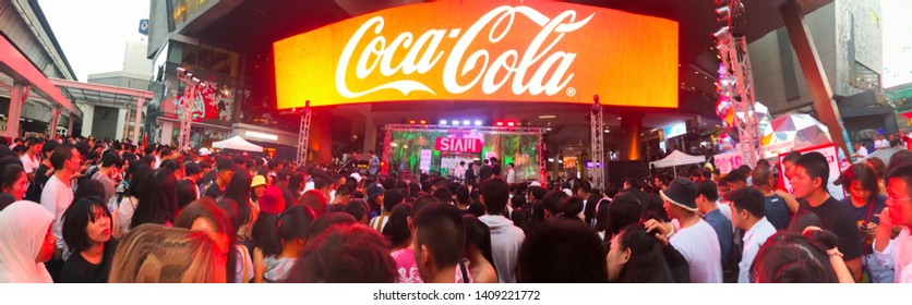 Bangkok, Thailand - December 15 2018: Panorama of Many people are having fun and dancing at Coke siam music festival at Siam Square One.