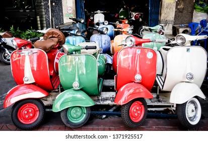 Bangkok, Thailand/ december 16. 2014: Vintage Vespa piaggio Scooter, Vespas 150 super, Bangkok, Thailand, Southeast Asia.