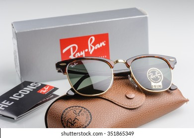 BANGKOK, THAILAND - DECEMBER 16, 2015: The Ray-Ban Club Master RB3016 W0366 -Tortoise. Ray-Ban is a brand of sunglasses and eyeglasses founded in 1937 by American company Bausch & Lomb.
