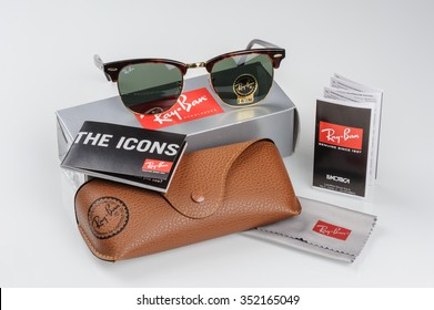 BANGKOK, THAILAND - DECEMBER 16, 2015: The Ray-Ban Club Master RB3016 W0366 -Tortoise and accessories. Ray-Ban is a brand of sunglasses and eyeglasses founded in 1937 by Bausch & Lomb.