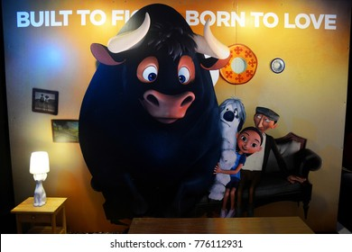 Bangkok, Thailand - December 16, 2017: Standee of Animation Ferdinand display at the theater