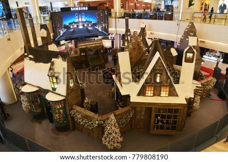 bangkok thailand december 16 2017 small hogsmeade village building in harry potter