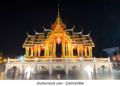 BANGKOK, THAILAND - DECEMBER 16, 2018 : People visit the Royal Winter Festival (Un Ai Rak 2) at Dusit Palace near Ananta Samakhom Throne Hall is a royal reception hall in Bangkok.