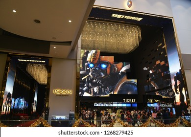 Bangkok, Thailand - December 16, 2018: Giant Image of Movie Bumblebee displays at the theater