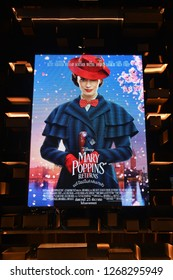 Bangkok, Thailand – December 16, 2018: The Standee of American Musical Fantasy Movie Mary Poppins Returns Displays at the Theater