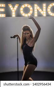 BANGKOK, THAILAND - DECEMBER 16, 2018 - Beyonce Wax Figure at Madame Tussauds Bangkok on December 16, 2018 in Bangkok, Thailand