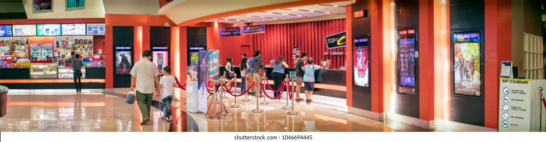 BANGKOK, THAILAND - DECEMBER 16: Movie goers line up at the box office at SF Cinema in The Mall Bangkhae in Bangkok on December 16, 2017.