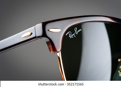 BANGKOK, THAILAND - DECEMBER 17, 2015: Closeup Details of Ray-Ban Club Master RB3016 W0366 -Tortoise. Ray-Ban is a brand of sunglasses and eyeglasses founded in 1937 by Bausch & Lomb.