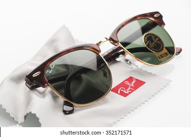 BANGKOK, THAILAND - DECEMBER 17, 2015: The Ray-Ban Club Master RB3016 W0366 -Tortoise. Ray-Ban is a brand of sunglasses and eyeglasses founded in 1937 by American company Bausch & Lomb.
