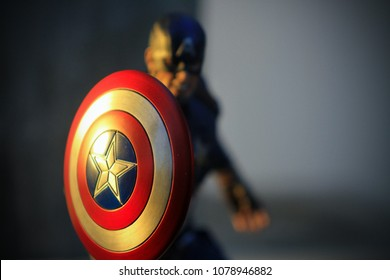 BANGKOK THAILAND - DECEMBER 17 ,2016 : Close up shot of Captain America Civil War superheros figure in action fighting. Captain america appearing in American comic books by Marvel.