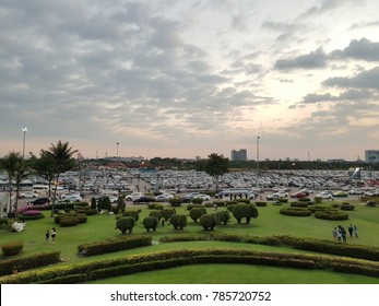 Bangkok, Thailand - December 17, 2017 : Car park at Impact Arena Concert Hall is full of audience cars before the concert of J Jetrin started at 6.00 PM.