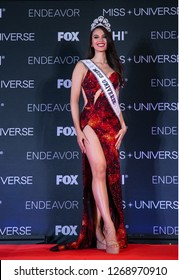 """Bangkok, Thailand - December 17, 2018: Miss Philippines """"Catriona Gray"""" talks to medias after being crowned the new Miss Universe 2018."""