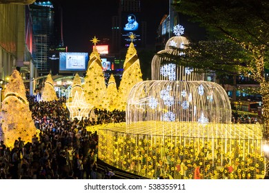 BANGKOK, THAILAND - December 18, 2016 : Light Up Christmas Tree Celebration 2017 at Central World Shopping Mall , Christmas day and Happy new year event ,  2016 in Bangkok, Thailand