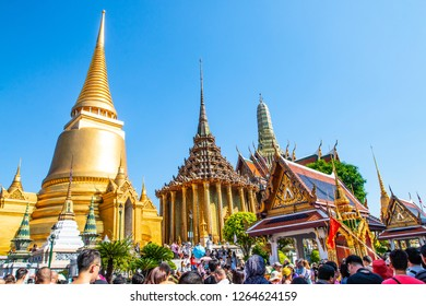 Bangkok, Thailand - December 18, 2018: People visiting Wat Phra Kaew, Emerald Buddha temple, Bangkok
