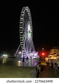 Bangkok, Thailand -December 18 2018 : Ferris wheel at Asiatique The Riverfront in Bangkok. Asiatique combined two of the most popular shopping experiences a night bazaar and a mall.
