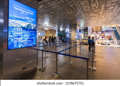 Bangkok / Thailand - December 19 2018: Information guide with ticket counter, row of queue at lobby area ground floor mahanakhon skywalk at king power mahanakhon thailand highest observation deck