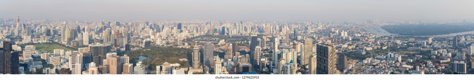 Bangkok / Thailand - December 19 2018: 360 Panoramic view of the Bangkok city Located at the top of King Power Mahanakhon Building, Mahanakhon skywalk, observation deck 314 meters the peak glass tray