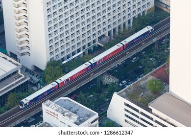Bangkok / Thailand - December 19 2018: Aerial view One of transportation in Bangkok city BTS Skytrain system operate in 2 lines consist in 35 stations along downtown of business area transport network