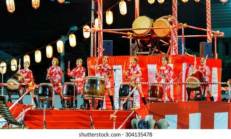 "BANGKOK, THAILAND - DECEMBER 19: Bon-Odori Festival in Bangkok, Thailand on December 19, 2014. Participants in ""Bon"" festival, held annually to celebrate the relationship between Thailand and Japan"