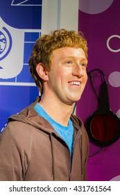 BANGKOK, THAILAND - DECEMBER 19: Wax figure of the famous Mark Zuckerberg from Madame Tussauds on December 19, 2015 in Bangkok, Thailand.