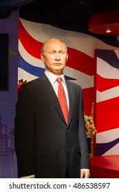 BANGKOK, THAILAND - DECEMBER 19: Wax figure of the famous Vladimir Putin from Madame Tussauds on December 19, 2015 in Bangkok, Thailand.