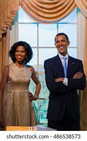 BANGKOK, THAILAND - DECEMBER 19: A waxwork of Barack and Michelle Obama on display at Madame Tussauds on December 19, 2015 in Bangkok, Thailand