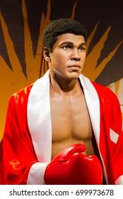 BANGKOK, THAILAND - DECEMBER 19: A waxwork of Muhammad Ali on display at Madame Tussauds on December 19, 2015 in Bangkok, Thailand.