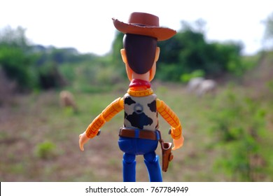 Bangkok, Thailand - December 2, 2017 : Woody figure model. Woody standing in field and looking cows in park. Feeling relax and fresh.