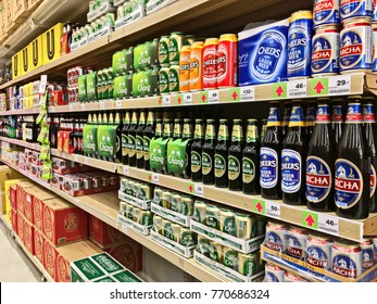 Bangkok, Thailand - December 2, 2017 : Selected focus. Shelf of beverage, domestic and imported beer cans and bottles at Big C Super center. Big C Super center is a big supermarket in Thailand