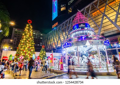 BANGKOK, THAILAND - DECEMBER 2, 2018 : Centralworld shopping mall at night, welcome to Christmas and Happy New Year 2019 festival near Ratchaprasong junction in Bangkok, Thailand