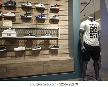 Bangkok, Thailand. December 2, 2018 - Nike sports fashion display in shopping mall. Nike sport shoes for men and women.