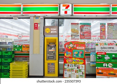 BANGKOK, THAILAND - DECEMBER 2 : Exterior view of 7-Eleven store on December 2, 2014 in Bangkok, Thailand. 7-Eleven is world's largest franchisor of convenience stores, with more than 46,000 shops.