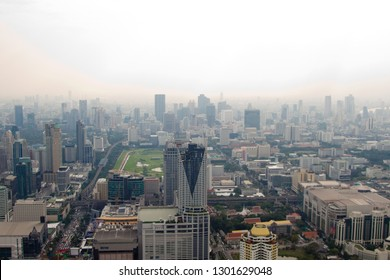BANGKOK, THAILAND - DECEMBER 20 2010: Skyscrappers in downtown cityscape